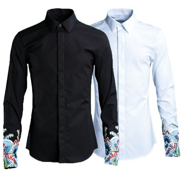 Free Shipping New male men's spring man long sleeved Chinese style sleeve embroidery shirt thin Slim auspicious wave pattern