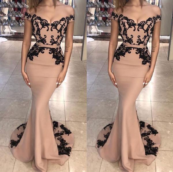 Compre Fuera Del Hombro Piso Longitud Sirena Vestidos De Noche Atractivos Apliques Negros Vestido Color Nude Vestidos De Fiesta Personalizados