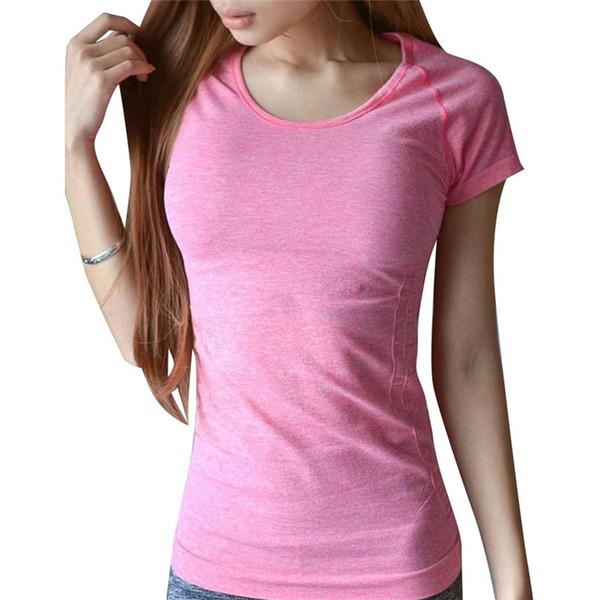 Kadınlar Profesyonel Fitness Spor Çabuk kuruyan Perspicuousness Kısa kollu Egzersiz Giysi T-shirt