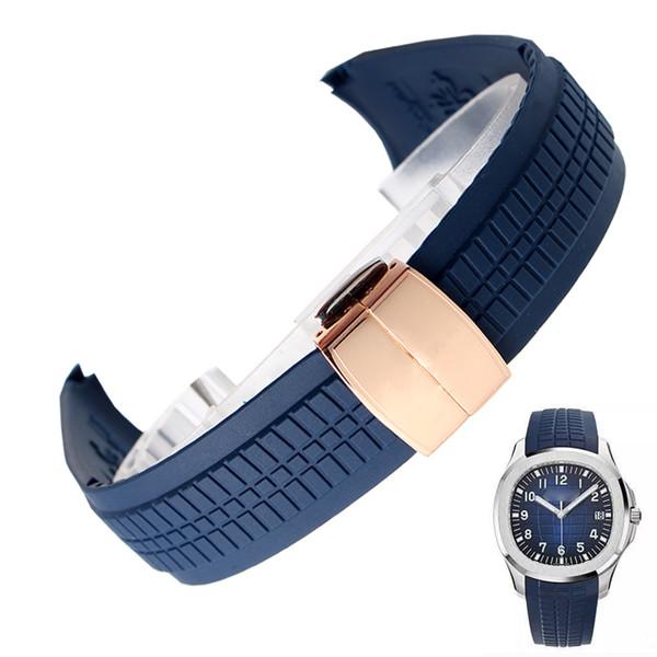 Silicone racelet watch strap watchband wristband men 21mm Wrist watch band wristwatches strap Folding clasp