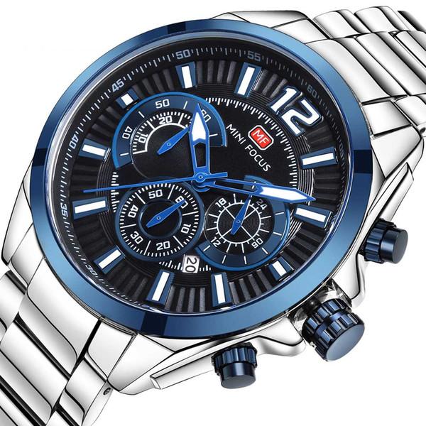 Orologio da uomo BOFUTE, orologio sportivo, orologio al quarzo, calendario luminoso Impermeabile in acciaio con striscia di metallo 0104G