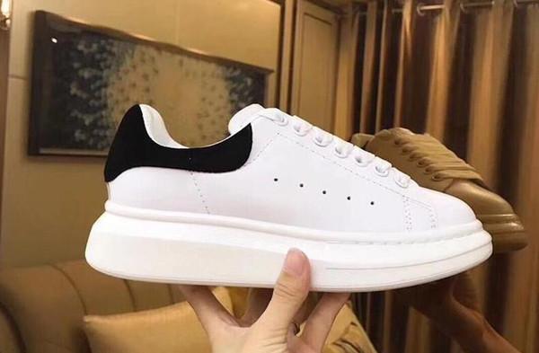 2019 Lüks Tasarımcı Erkekler Rahat Ayakkabılar Ucuz En Yüksek Kalite Mens Womens Moda Sneakers Bayan Erkek eğitmenler Beyaz Deri Platform Ayakkabı