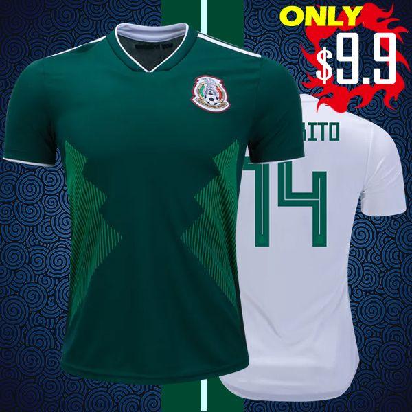 Top Thai Quality Messico 2018 2019 maglie di calcio da casa M.LAYON G.DOS SANTOS CHICHARITO Coppa del Mondo Camisa de Football Shirts XXL 3XL 4XL