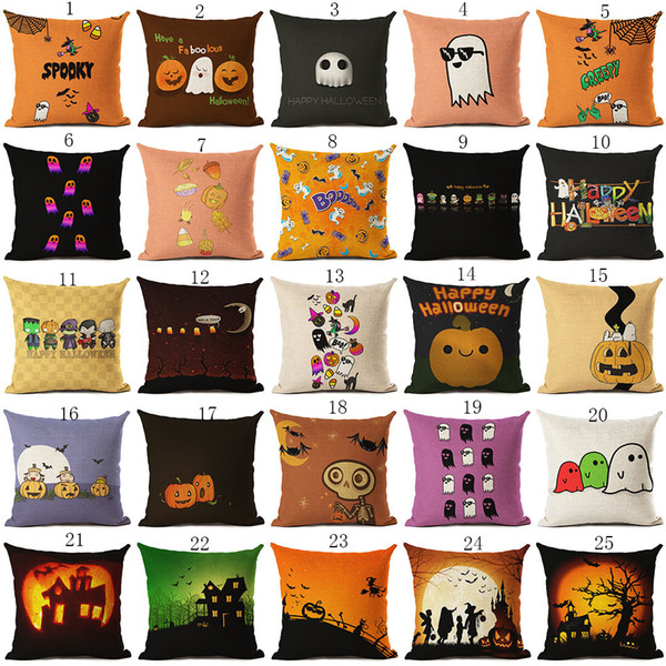 top popular Halloween Pillows Case 45*45cm pumpkin ghost print Pillow Cover Throw Cushion Cover Sofa Nap Cushion Covers Home Decor 137 colors C4978 2021