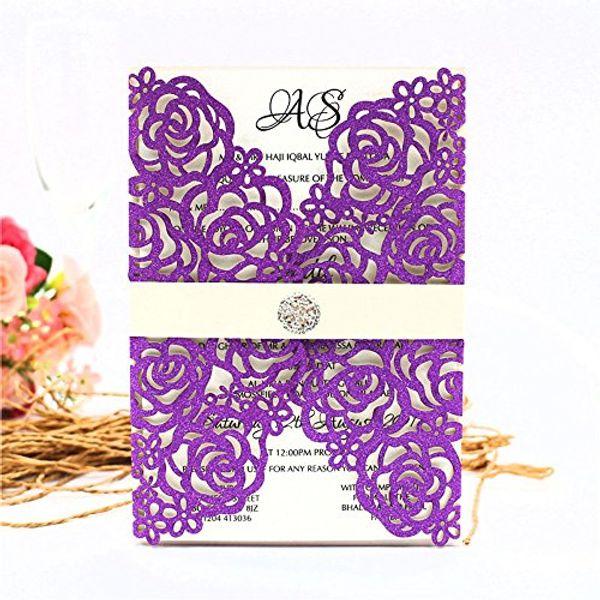 Compre Nuevo Laser Cut Purple Glitter Invitaciones Tarjetas Cinturón Con Cristal Para Boda Ducha Nupcial Compromiso Cumpleaños Graduación Invitar A