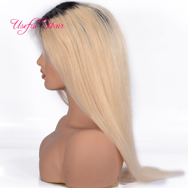 Short human hair wigs Malaysian Blonde Hair Lace Front Wigs 1BT613 Straight WIG Ombre Lace Front Wig Brazilian marley Mongolian Hair