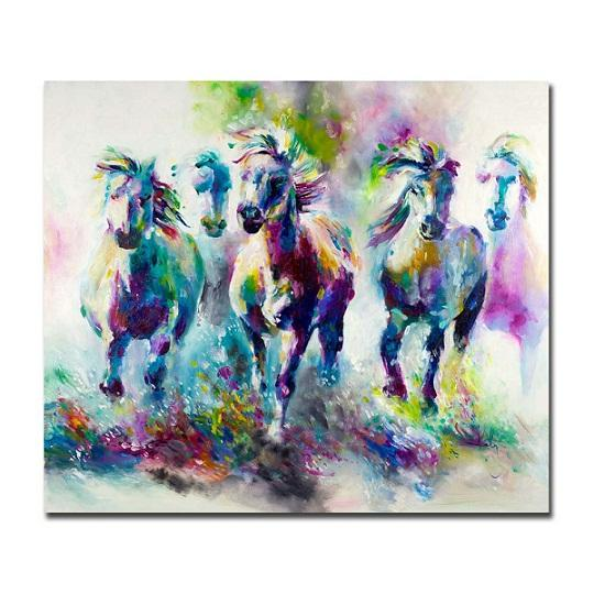 Colorful Abstract Horses Hand Painted Modern Home Decor Abstract Animal Wall Art Oil Painting On Canvas.Multi sizes /Frame Options al-Dafe