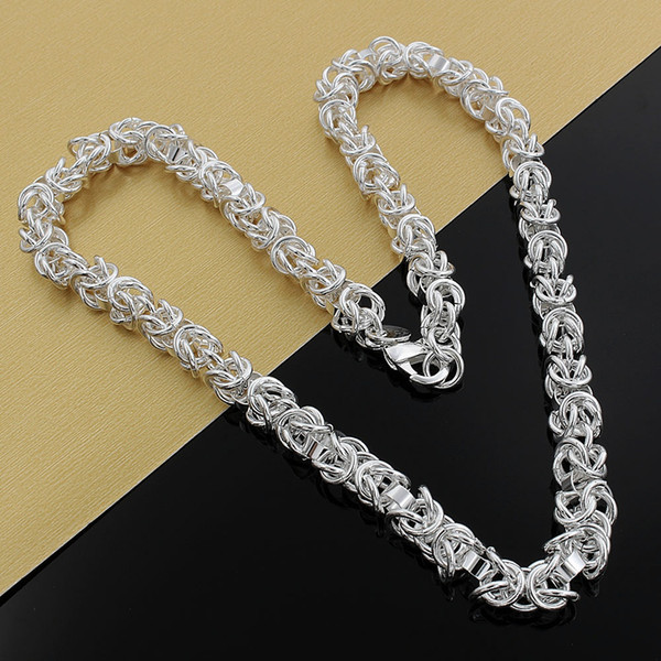 Fine 925 Sterling Silver Necklace,Fashion Men Women Necklace XMAS New Style Lovely Dragon 7MM Trendy Chain Necklace Link Italy Hot Sale AN61