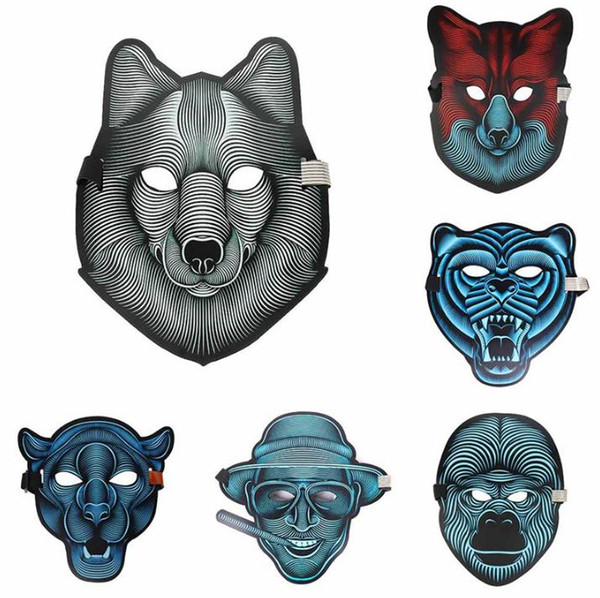 2018 New Design Halloween LED Masks Voice control Light Cosplay LED Glowing Mask Full Face Dance Mask SN1440