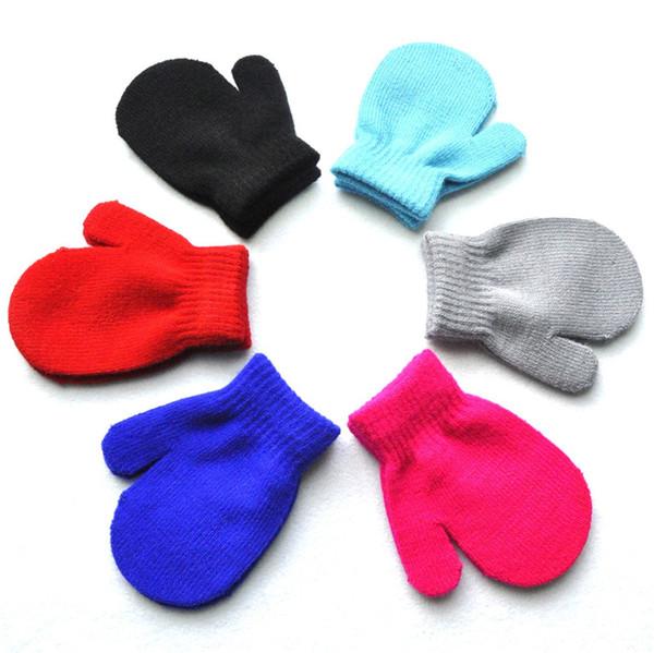 Boys Girls Winter Mittens kids baby Magic Knitted Gloves Solid Candy Color patchwork Glove Student Warm Anti Scratch Finger mitt mitten