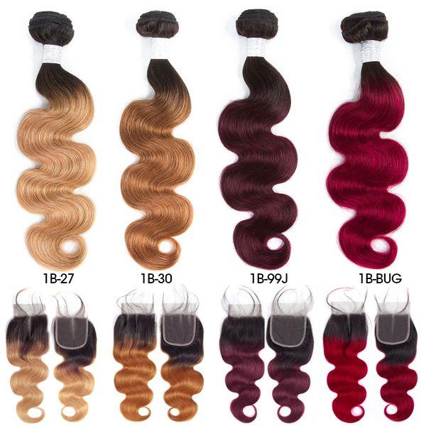 Cabello indio crudo pre-coloreado 3 paquetes con cierre 1b / 27 Ombre T1B / 99J El cabello humano con ondas corporales teje paquetes con cierre T1B / 30 T1B / BUG