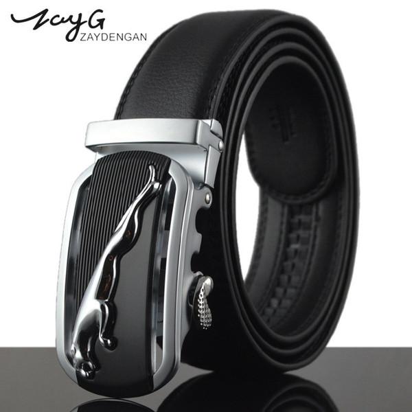 ZAYG Designer Men's Luxury Striped Silver Leopard Belt Male Metal Automatic Buckle Belts for Men Black Genuine Leather Strap