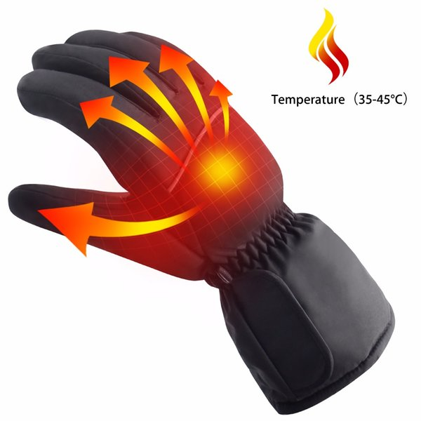 Hand Back Heating Electric Gloves Rechargeable Warm Gloves 4 Hours Skiing Waterproof Windproof Heated