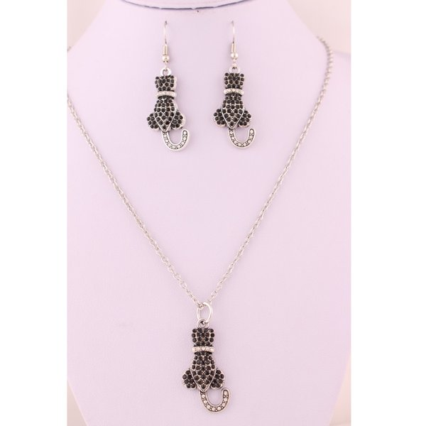 Cute Animal Black White Color Rhinestone Cat Shape Sparkling Crystal Antique Silver Material Zinc Alloy Earring Necklace Jewelry Set