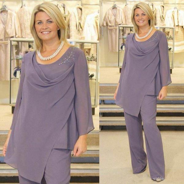 Light Purple Mother Of The Bride Pant Suits Long Sleeve Plus Size Chiffon Plus Size Evening Dress Wedding Guest Gowns