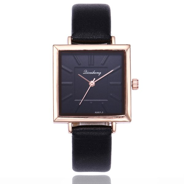 Fashion Women Leather Watch 1pcs Simple Scale Black Stainless Steel Square Dial Casual Wrist Watch Bracelet reloj a50