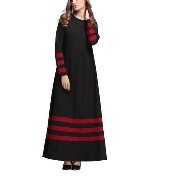 Best selling Fashion Muslim Women Islamic Stripe Printing dress Plus Size Ladies Middle East Long Dresses vestidos de festa