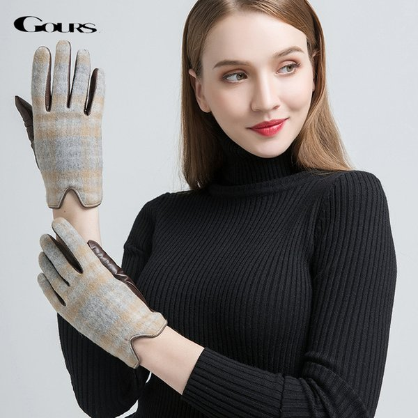 Gours Women's Genuine Leather Gloves Fashion Brand Brown Goatskin Wool Cashmere Finger Gloves Warm In Winter New Arrival GSL038