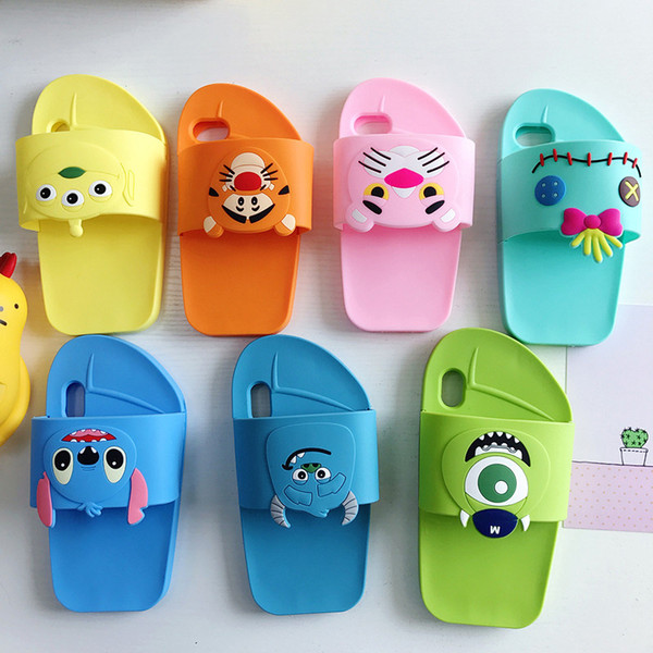 Funny 3D Cute Cartoon Slipper Case For iPhone 6 6S 7 8 Plus Soft Rubber Silicone Shockproof Protective Case Cover For iPhone X XS Max XR