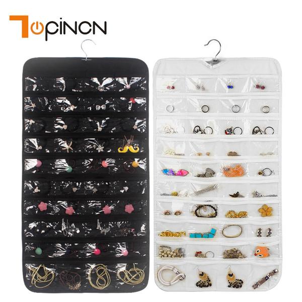 Großhandel Doppelseitige 80 Taschen Schmuck Hängen Speicherorganisator Ohrring Beutel Transparente Armbänder Visitenkarten Kleiderbügel Beutelhalter