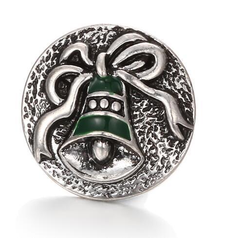 20 unids / lote fashion18mm botón a presión botón noosa navidad esmalte de Bell encanto diy joyería hecha a mano pulsera colgante collar encanto caliente venta caliente