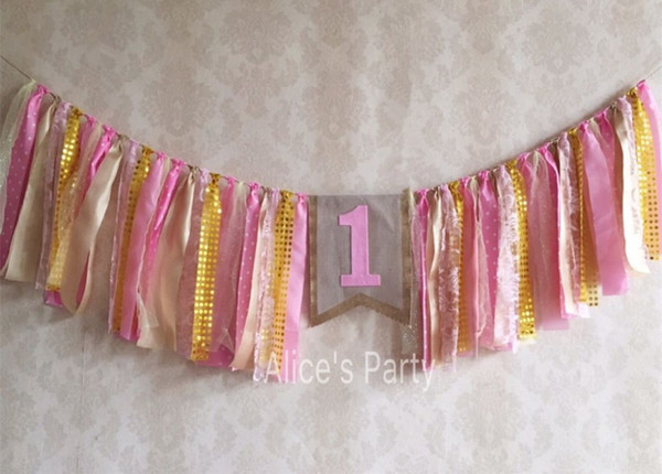 New Pink Tulle Banner Sequins Gold theme party garland baby shower bunting Girl First Birthday flag Sign 1st Bling Party Decor