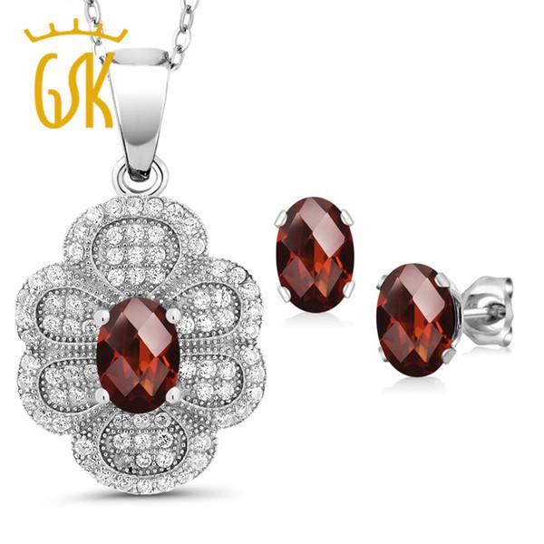 GemStoneKing 3.32Ct Oval Checkerboard Natural Red Garnet Vintage Jewelry Set For Women 925 Sterling Silver Pendant Earrings Set