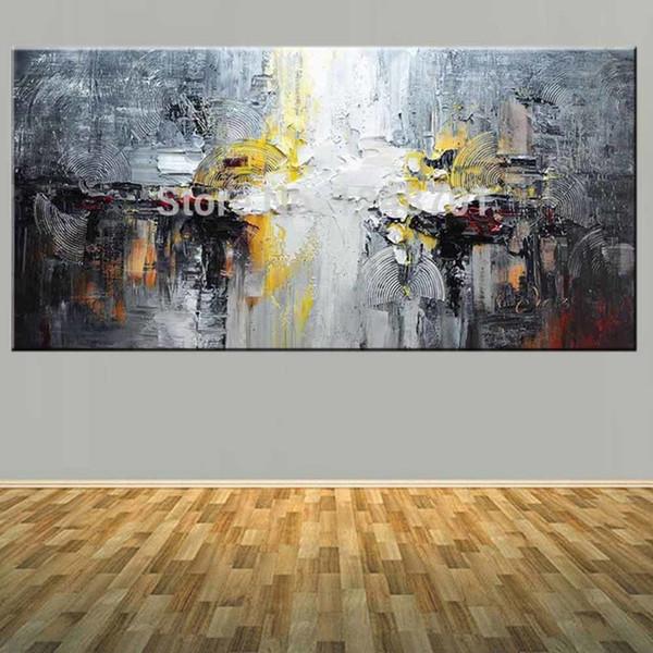 Großhandel Große Größe Handgemalte Abstrakte Impasto Ölgemälde Auf Leinwand  Abstrakte Wandbild Wohnzimmer Schlafzimmer Home Wall Art Decor Y18102209 ...