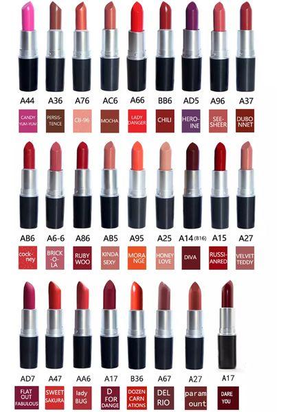 NEW best quality matte amplified Lipstick M Makeup velvet teddy Lipsticks honey love Matte Lipsticks 3g 26 colors lipstick with English Name