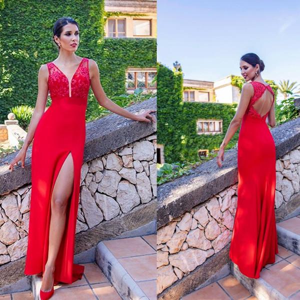 Seksi Backless Kırmızı Gelinlik Modelleri Dantel Aplikler Abiye giyim Sequins Yan Bölünmüş Kadınlar Örgün Parti Elbiseler Özel Durum Elbise