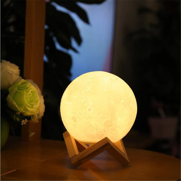Leedome Rechargeable 3D Moon Table Lamp DC5V Print Home Night Lamp Touch Control Brightness (Yellow+White) Lighting Luminaria