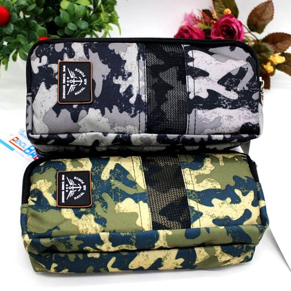 Creative Large Camouflage Pencil Case Multilayer Zipper Canvas Pencil Box For Kids Korean Stationery