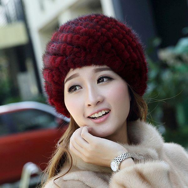 Women winter warm fur hat elegant lady real mink fur cap elastic Beanies knitted lining headwear high quality lose sale D18110102