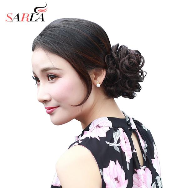SARLA Synthetische Haar Chignons Elastische Scrunchie Extensions Haar Band Pferdeschwanz Bundles Hochsteckfrisur Haarteile Brötchen H2