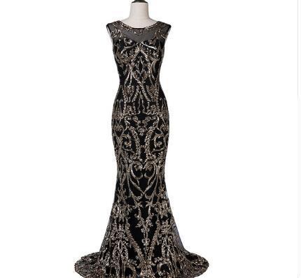 YQLNNE 2018 Fashion Black Evening Dress Mermaid Gold Sequins Sleeveless Prom Gown Vestido De Festa