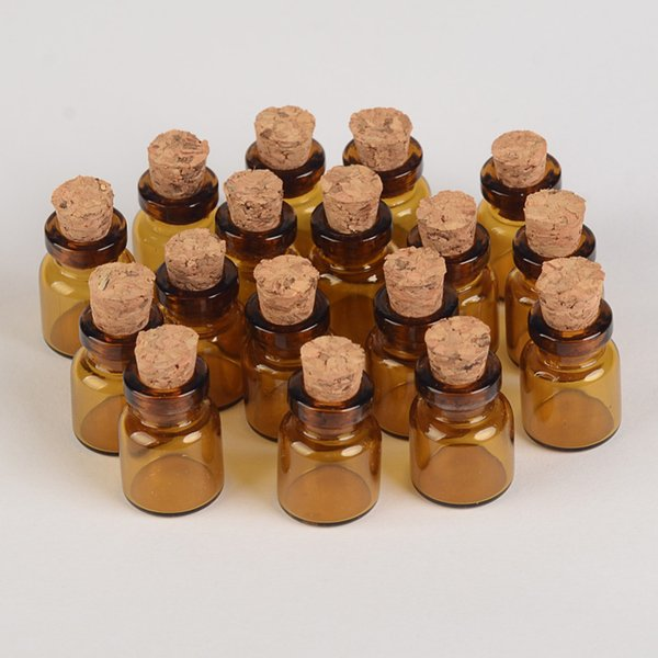 100 pcs 13x18x6 mm Botellas de vidrio marrón con los corchos de bricolaje 1 ml Vaciar decorativo lindo frascos de cristal mini tarros