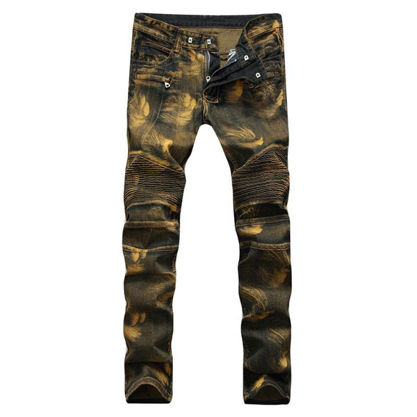 2018 Mens Gold Jeans Stage Outfits Mens Gold Zipper Skinny Jeans Club Outfits Sexy Luxury Print Elastic Pantalones