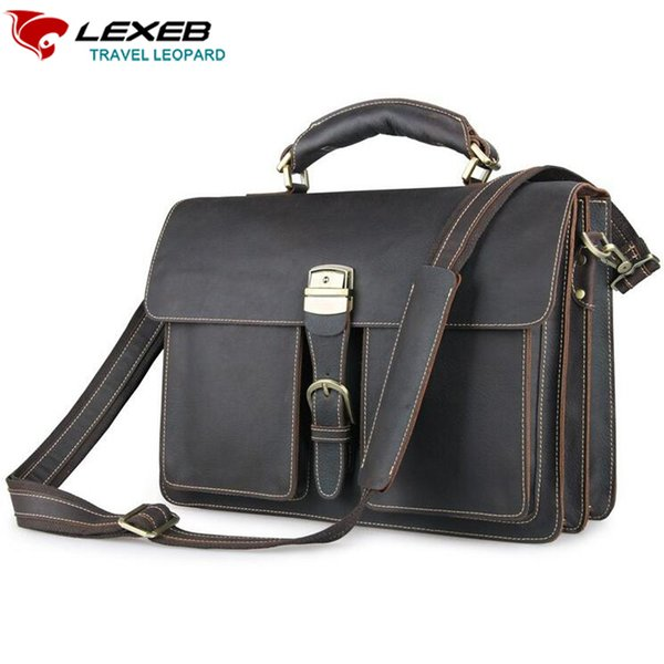 LEXEB Dark Messenger Post Men Bag Vintage Full Grain Crazy Horse Leather Briefcase For 15.6 Inch Laptop High Quality Casual Tote