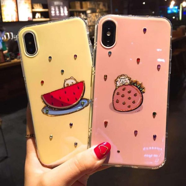 Details about Fashion 3D Diamond Crystal Fruit Design Style Soft Case For iPhone X 8 6 7Plus FRUIT cute case E271