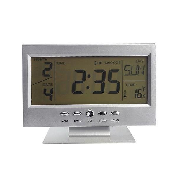 Newly LED Voice Control Alarm Desk Clock Weather Monitor Calendar with Electronic Digital Back-light Clocks 8 99 M