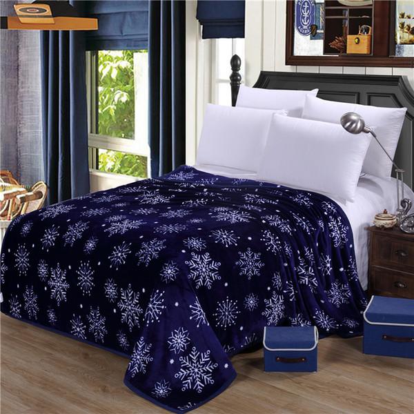 2018 Snowflakes Deep Blue Print Blanket Soft Throw Plaids Microfiber Coral Fleece Fabric Twin Full Queen Size Sheet Mat