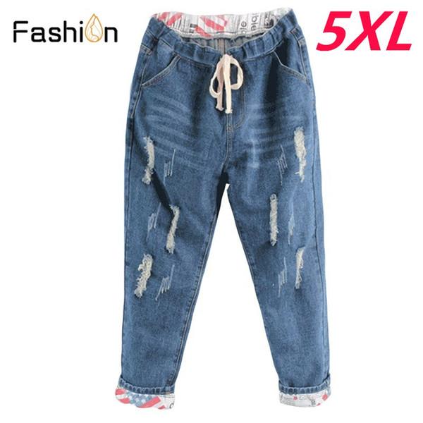 2018 Boyfriend Denim Jeans for Women Mid Waist Straight Pants Woman Ladies Ripped Loose Mom Jeans Girls Jean Pants Plus Size