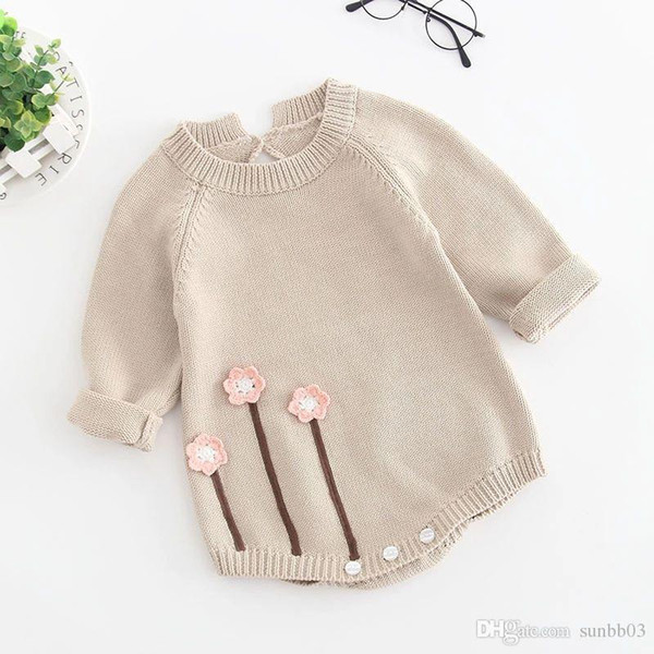 045761f270d1 New Autumn Infant Baby Knitted Rompers Girls Overalls Knitwear Sweater  Flowers Romper Children Toddlers Climb Clothes Rompers W266