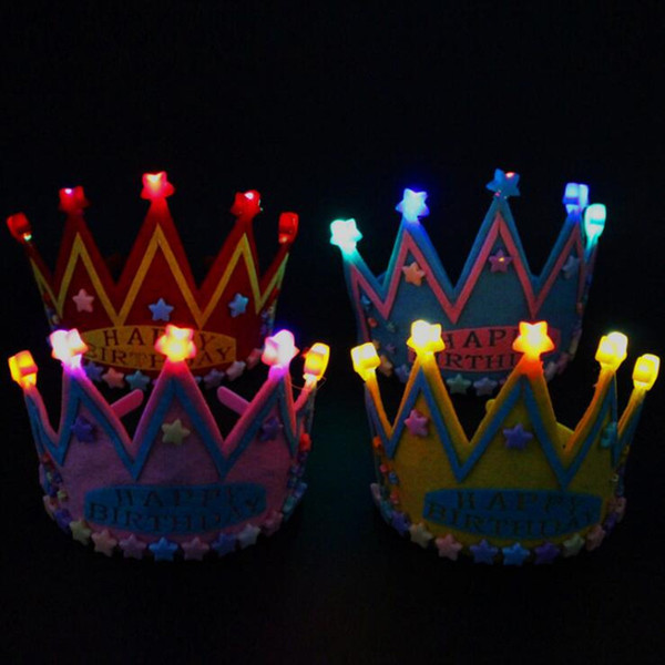LED Flashing Tiara Crown Birthday Hat Children Adults Glowing Headband Birthday Party Favor Gift Supplies