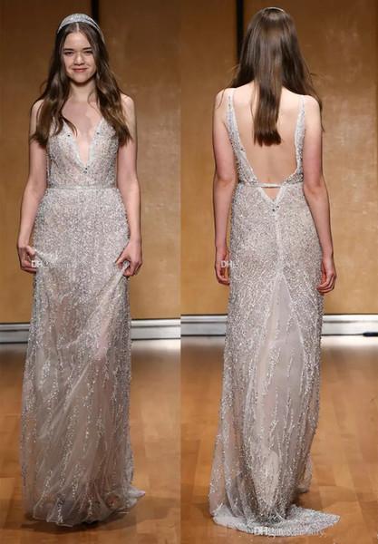 2019 Gaine De Luxe Sexy Col En V Complet Perles De Mariage Robe Sans Manches Longueur Etage Robe De Mariée Robe Ouvert Dos Nu
