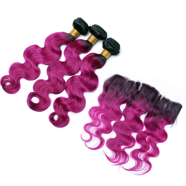 Brazilian Body Wave 1B Purple Hair Weave 3Pcs With Full Lace Frontal Two Tone Ombre 1B Purple Hair Extensions With Frontal Closure 13x4