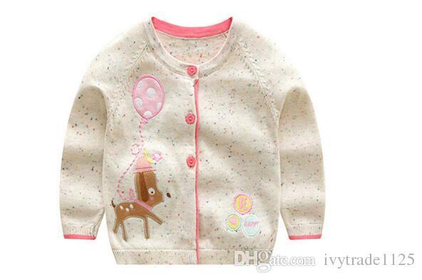 INS styles new hot selling Girl kids spring autumn long sleeve Pure cotton Cardigan Deer Design knitted sweater for Girl