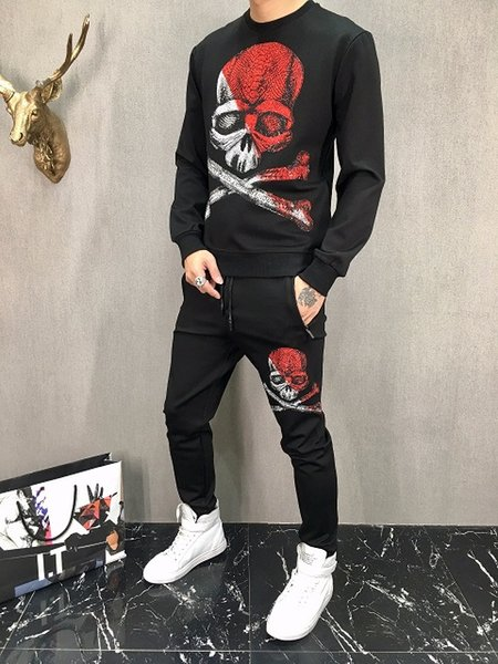 2018ss Winter Brand Designer Men's Suits Fashion hot diamond Printed Slim Fit Tracksuits for Men Skull Tracksuits sweater and pants sets