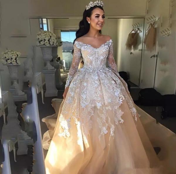 Großhandel 2018 Lace Ballkleid Brautkleider Off Shoulder Long ...