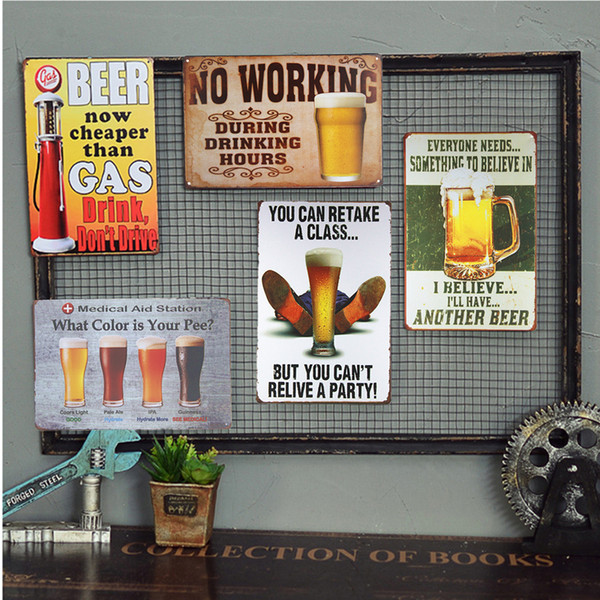 Vintage Shabby chic Tin signs Beer Bar Pub Metal Poster Restaurant Bar Pub Tavern Decor Craft Wall Painting